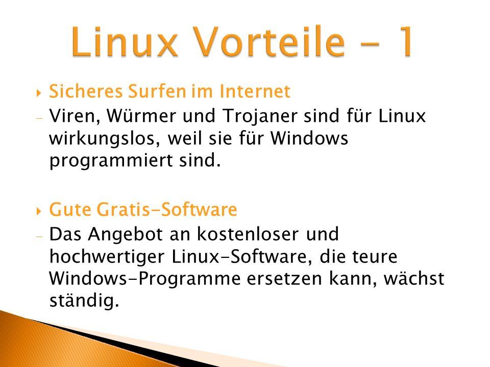 Linux Vorteile - 1 Sicheres Surfen im Internet