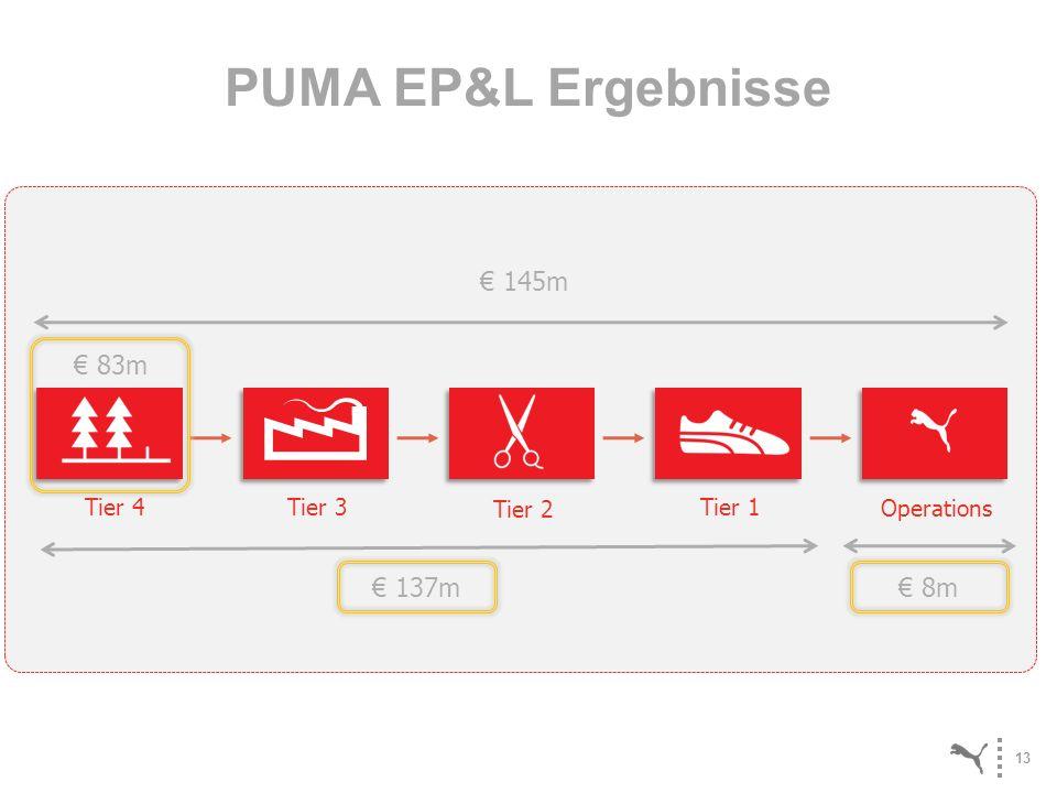 PUMA EP&L Ergebnisse € 145m € 83m € 137m € 8m Tier 4 Tier 3 Tier 2