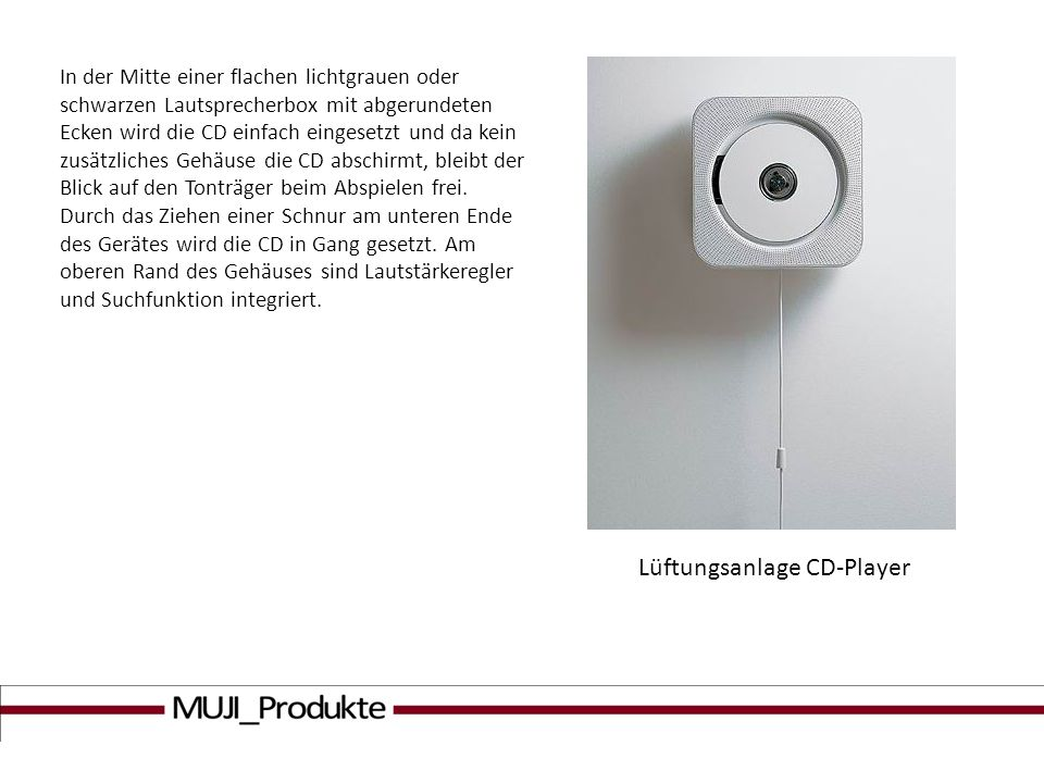 Lüftungsanlage CD-Player