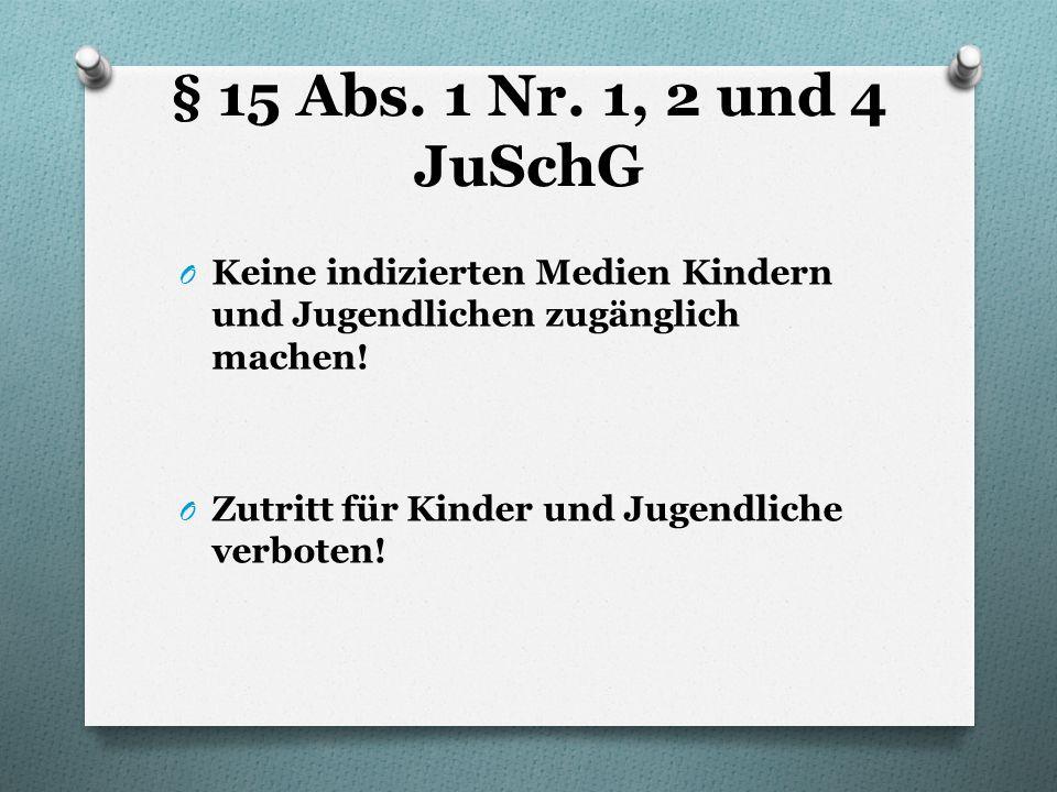 § 15 Abs. 1 Nr. 1, 2 und 4 JuSchG Keine indizierten Medien Kindern und Jugendlichen zugänglich machen!