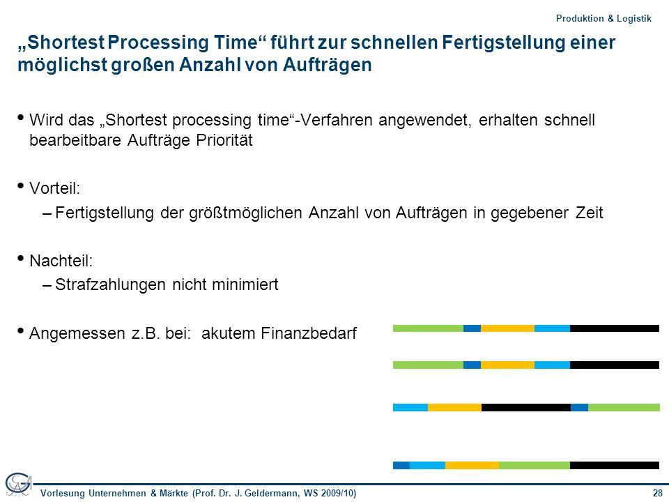 """""""Shortest Processing Time führt zur schnellen Fertigstellung einer möglichst großen Anzahl von Aufträgen"""