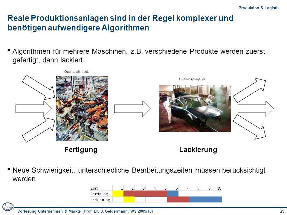 Reale Produktionsanlagen sind in der Regel komplexer und benötigen aufwendigere Algorithmen