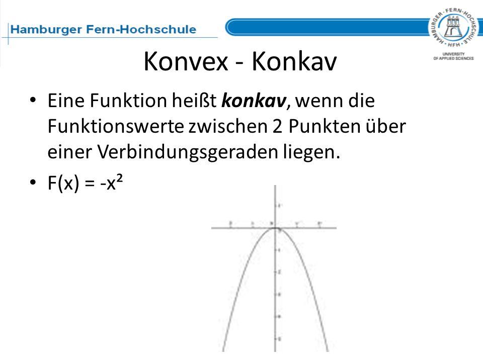 Konvex - Konkav Eine Funktion heißt konkav, wenn die Funktionswerte zwischen 2 Punkten über einer Verbindungsgeraden liegen.
