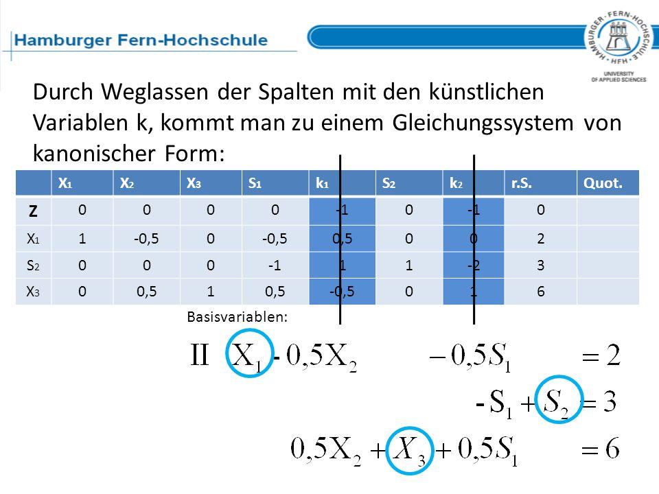 Durch Weglassen der Spalten mit den künstlichen Variablen k, kommt man zu einem Gleichungssystem von kanonischer Form: