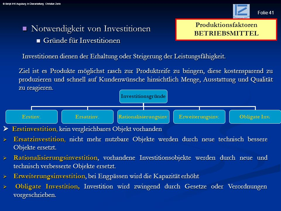 Produktionsfaktoren BETRIEBSMITTEL