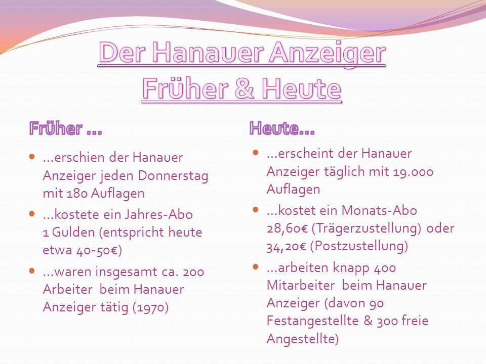 Der Hanauer Anzeiger Früher & Heute