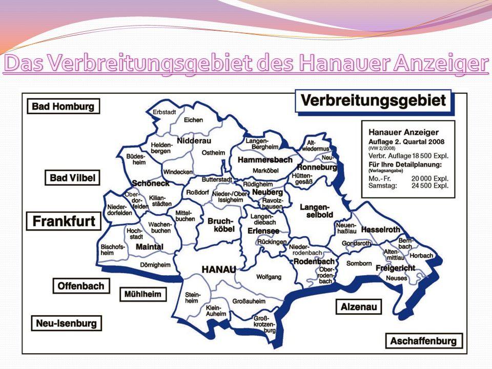 Das Verbreitungsgebiet des Hanauer Anzeiger