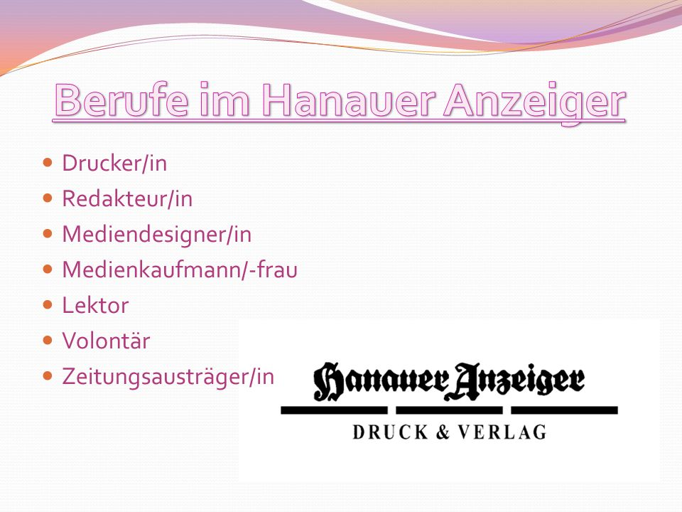 Berufe im Hanauer Anzeiger