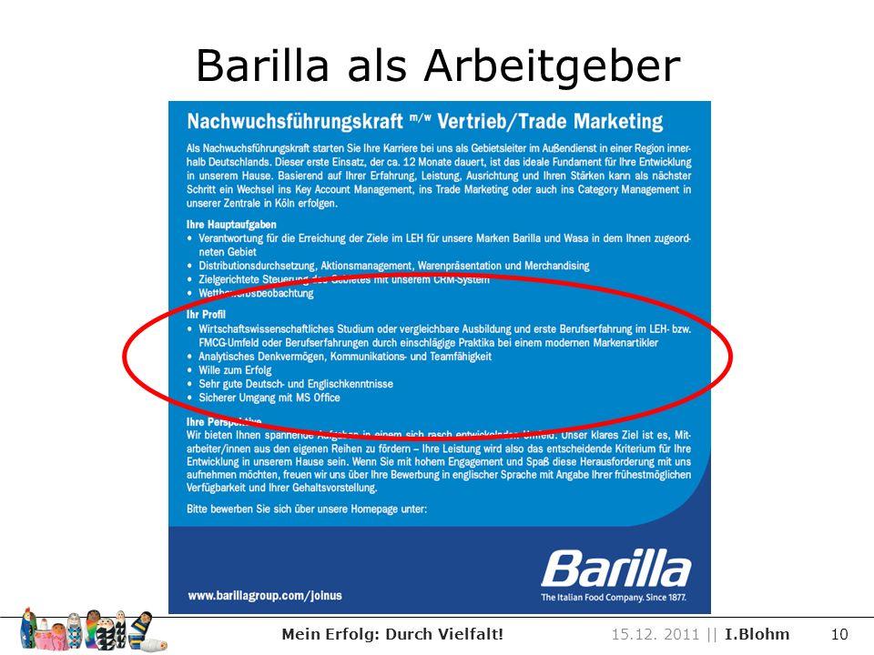 Barilla als Arbeitgeber