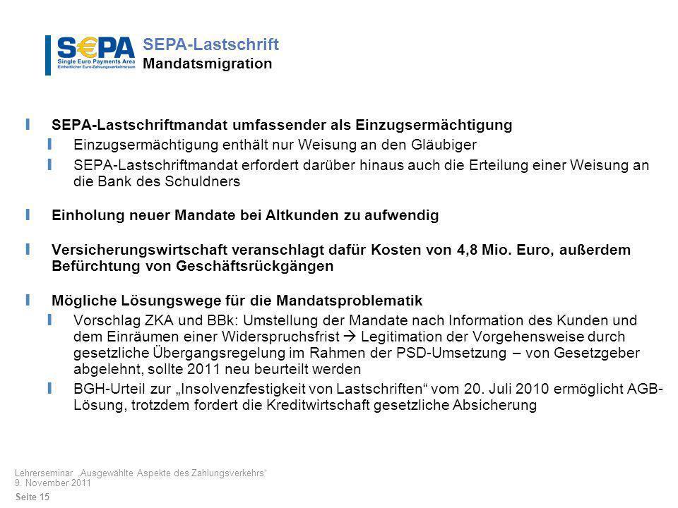 SEPA-Lastschrift Mandatsmigration