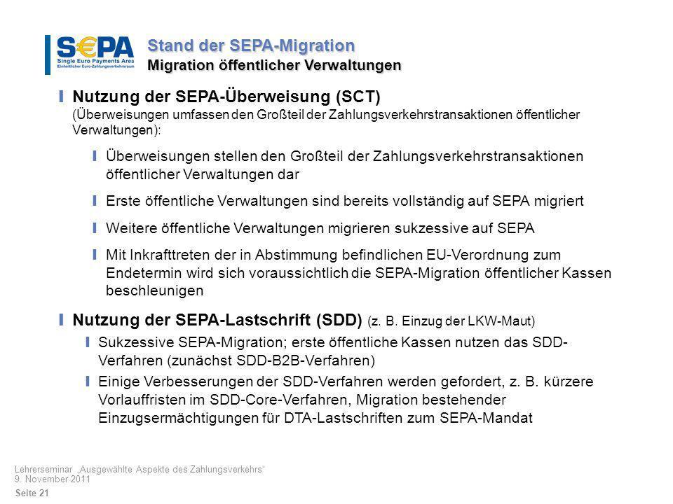 Stand der SEPA-Migration Migration öffentlicher Verwaltungen