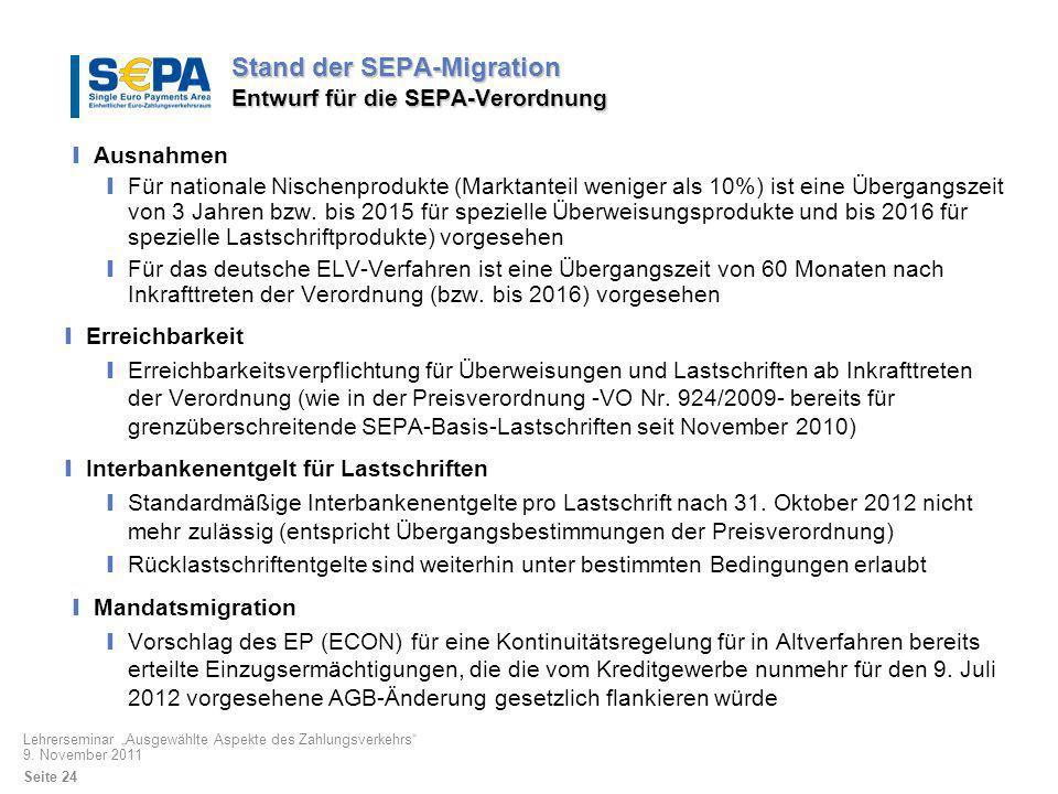 Stand der SEPA-Migration Entwurf für die SEPA-Verordnung