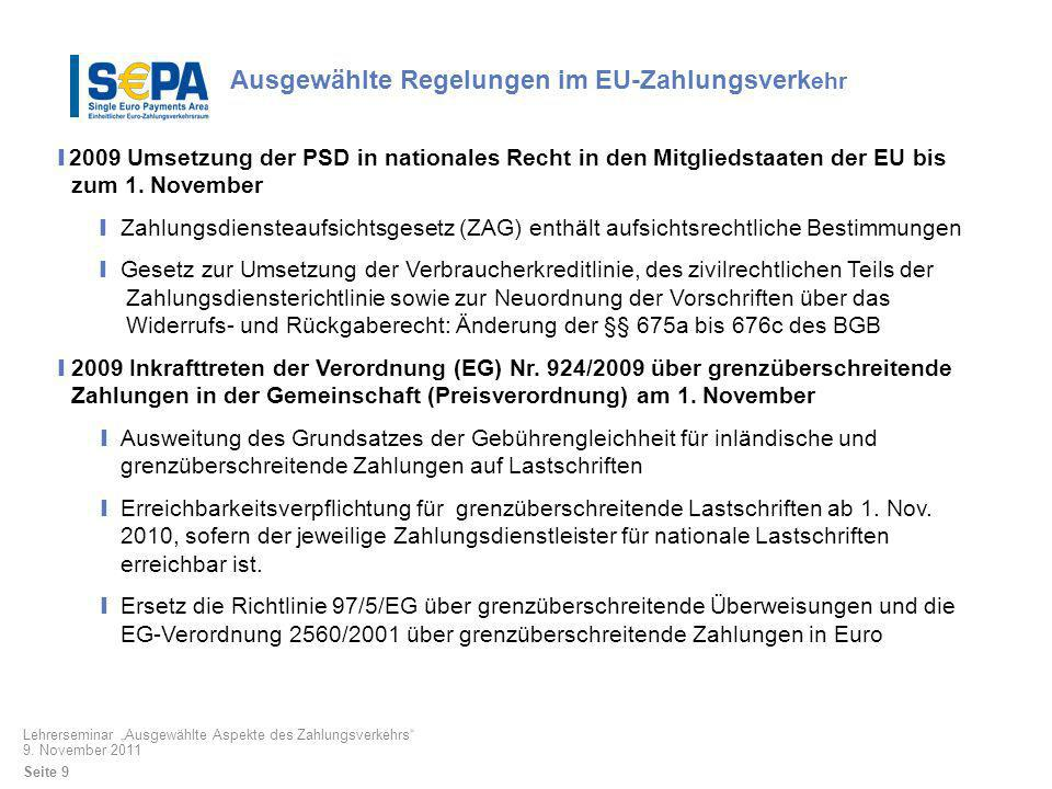 Ausgewählte Regelungen im EU-Zahlungsverkehr