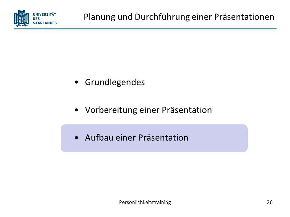 Planung und Durchführung einer Präsentationen