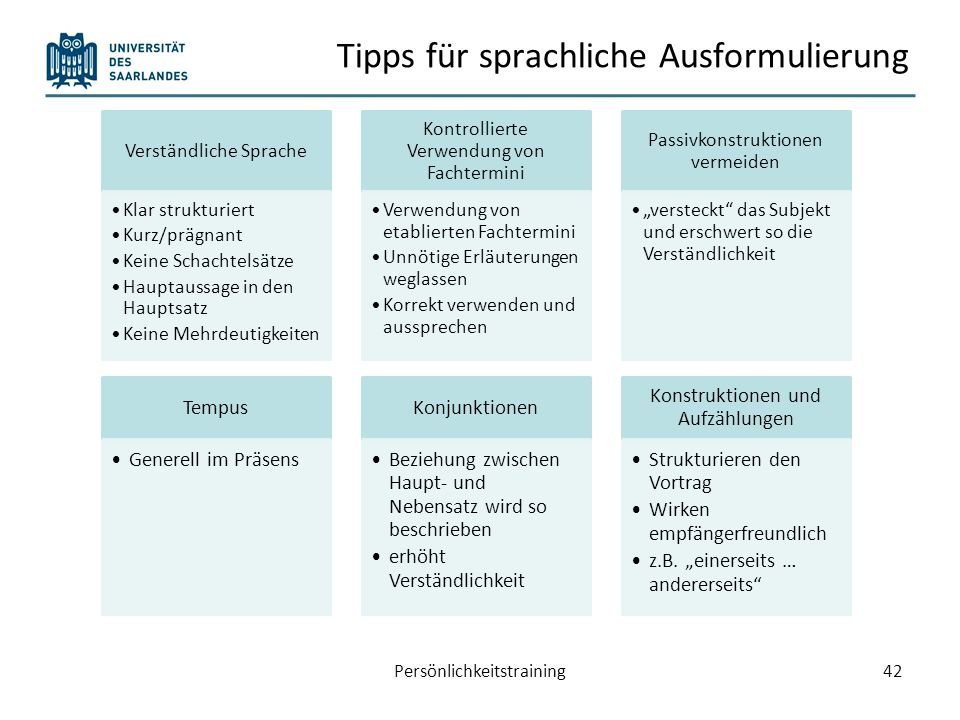 Tipps für sprachliche Ausformulierung