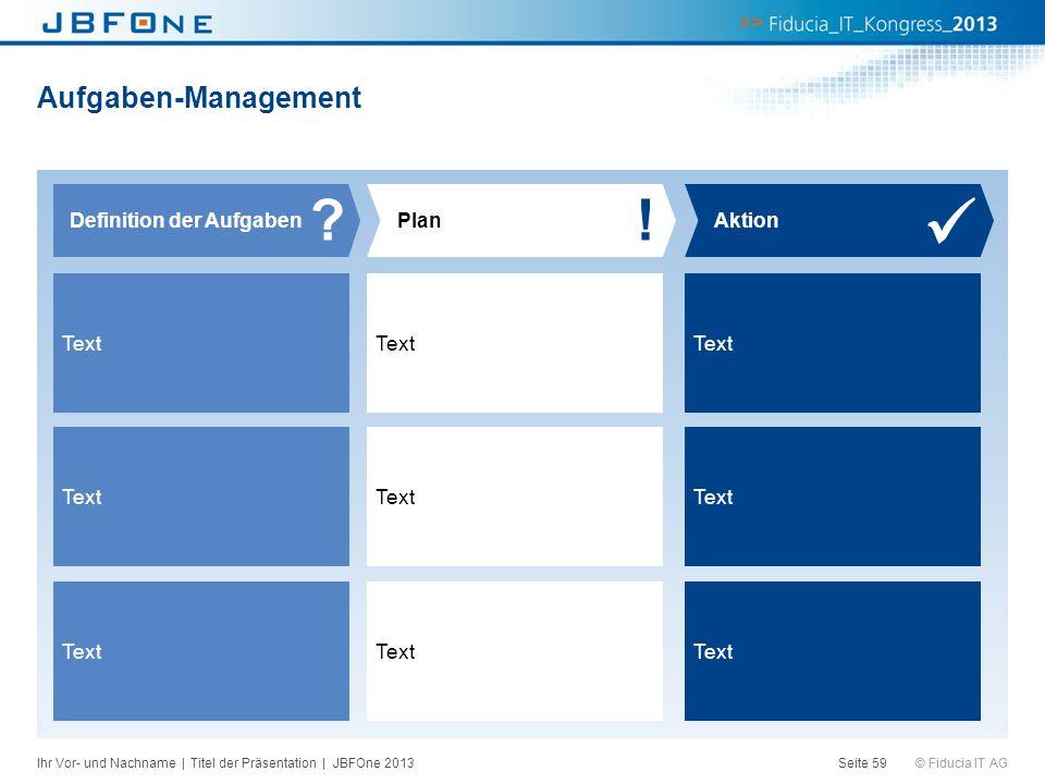 ! Aufgaben-Management Definition der Aufgaben Plan Aktion Text Text