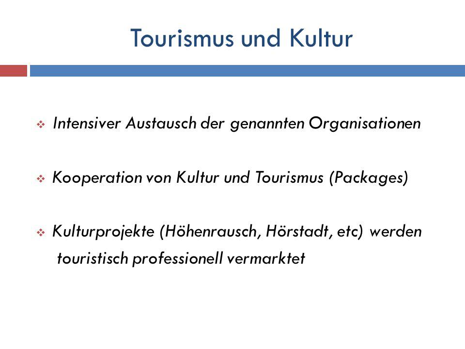 Tourismus und Kultur Intensiver Austausch der genannten Organisationen