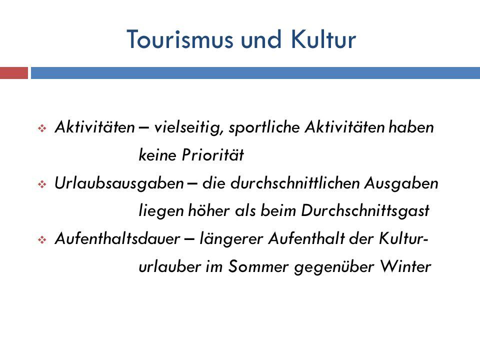 Tourismus und Kultur Aktivitäten – vielseitig, sportliche Aktivitäten haben. keine Priorität. Urlaubsausgaben – die durchschnittlichen Ausgaben.