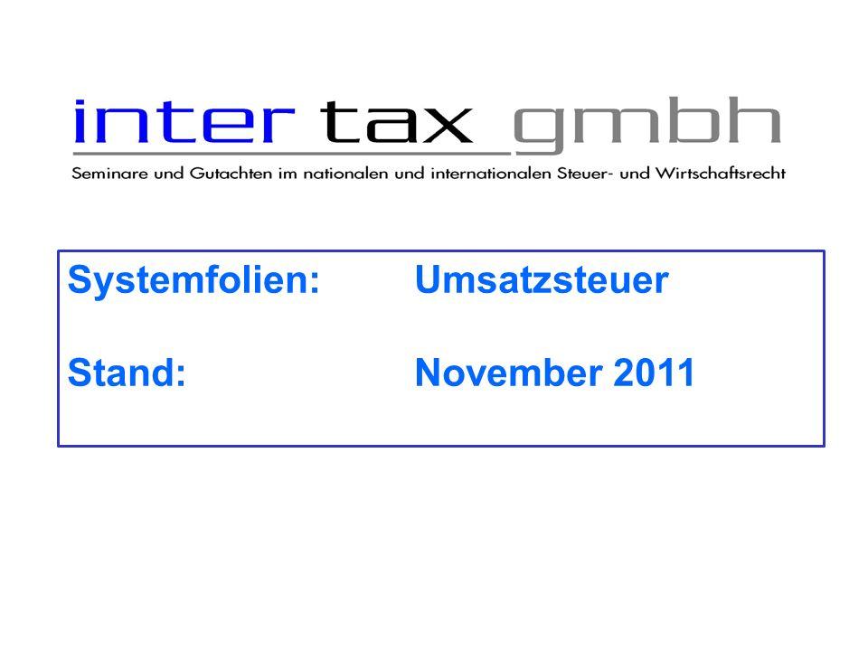 Systemfolien: Umsatzsteuer