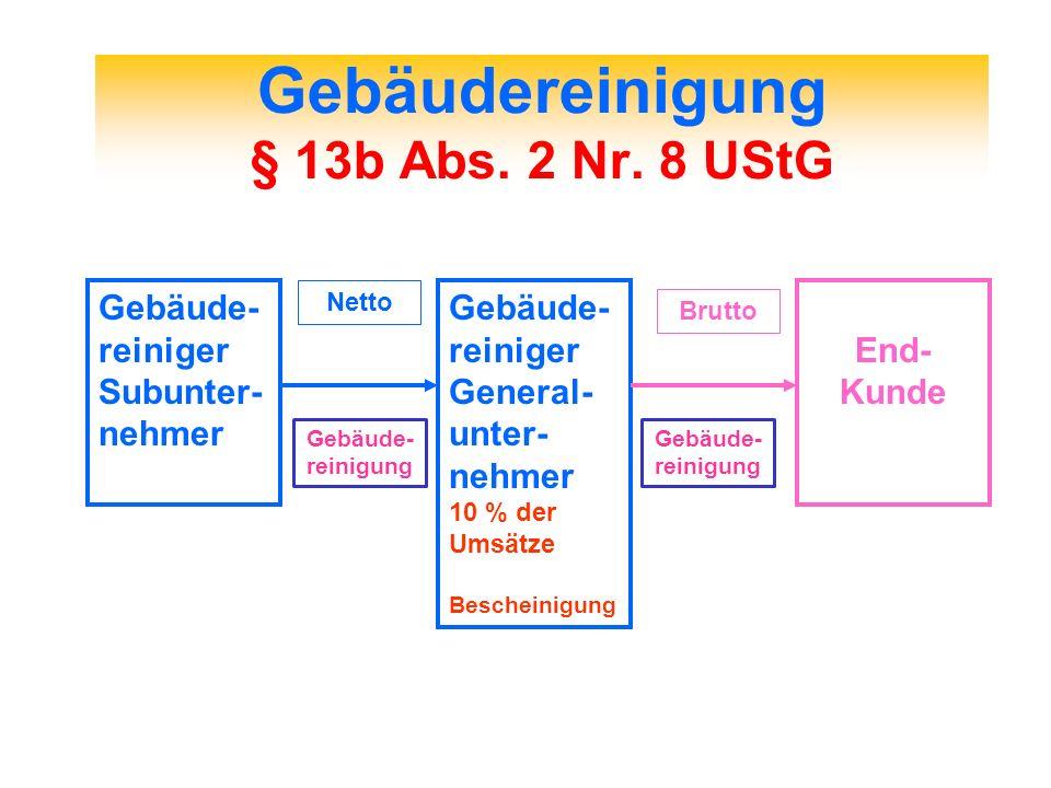 Gebäudereinigung § 13b Abs. 2 Nr. 8 UStG