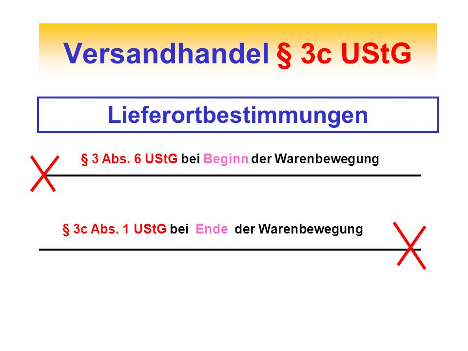 Versandhandel § 3c UStG Lieferortbestimmungen