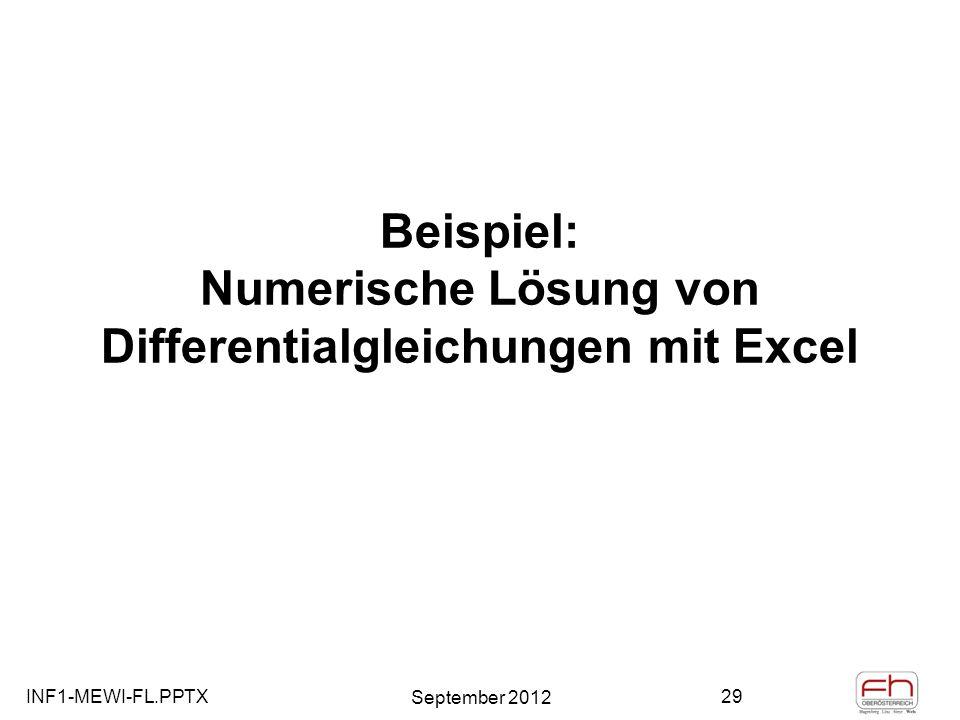 Beispiel: Numerische Lösung von Differentialgleichungen mit Excel