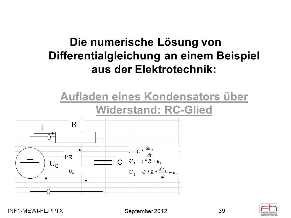 Die numerische Lösung von Differentialgleichung an einem Beispiel aus der Elektrotechnik: Aufladen eines Kondensators über Widerstand: RC-Glied