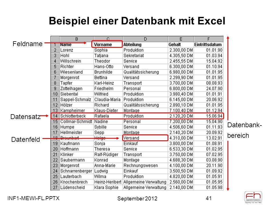 Beispiel einer Datenbank mit Excel