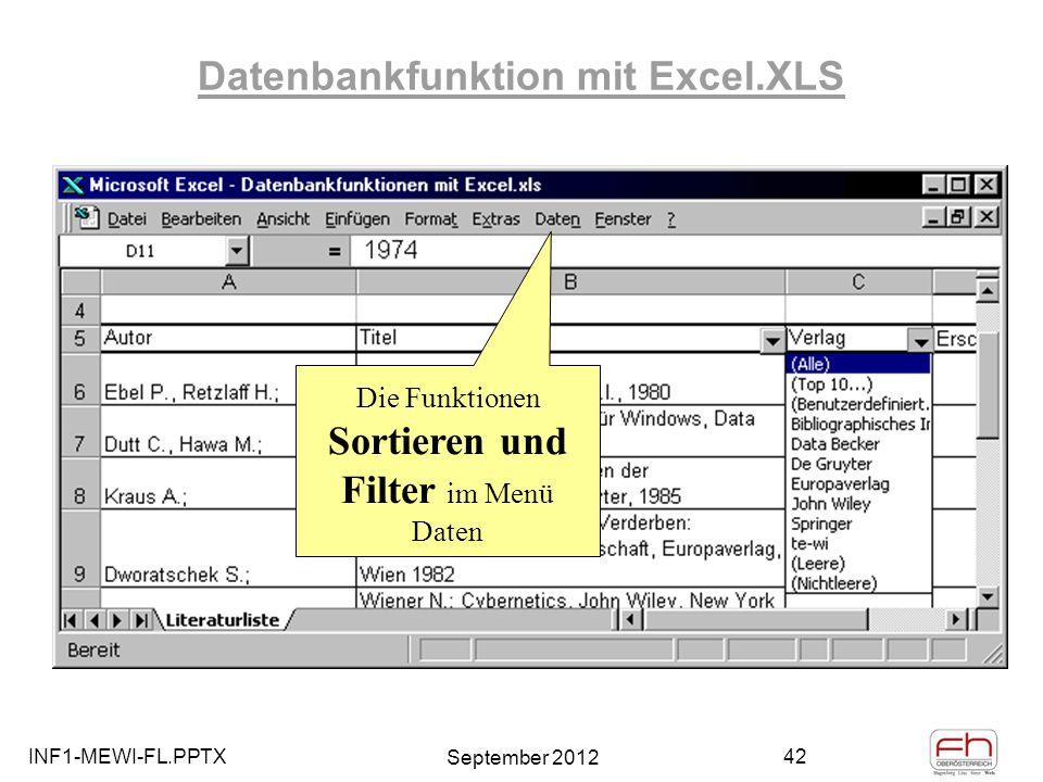 Datenbankfunktion mit Excel.XLS