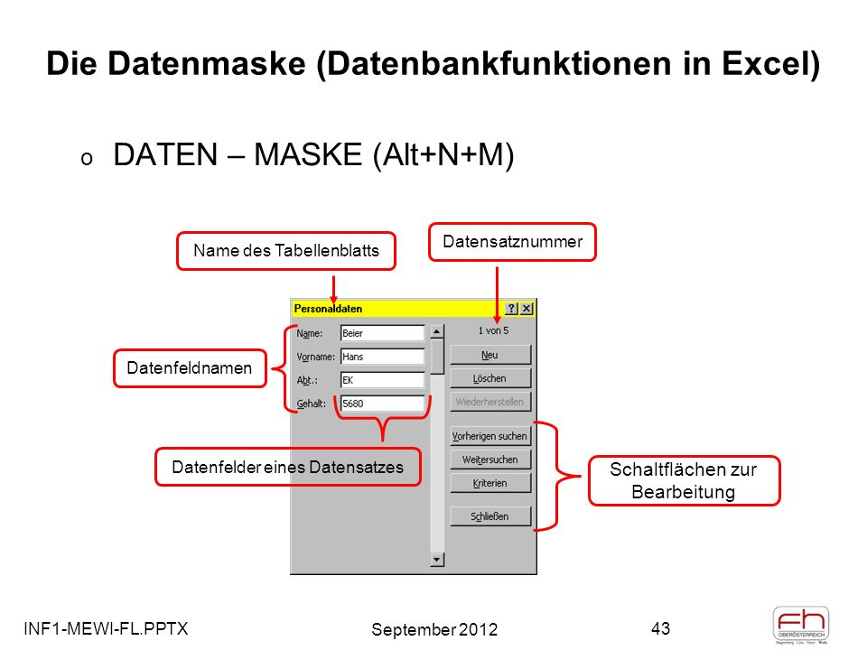 Die Datenmaske (Datenbankfunktionen in Excel)