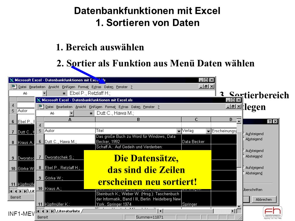 Datenbankfunktionen mit Excel 1. Sortieren von Daten