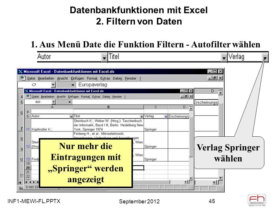 Datenbankfunktionen mit Excel 2. Filtern von Daten