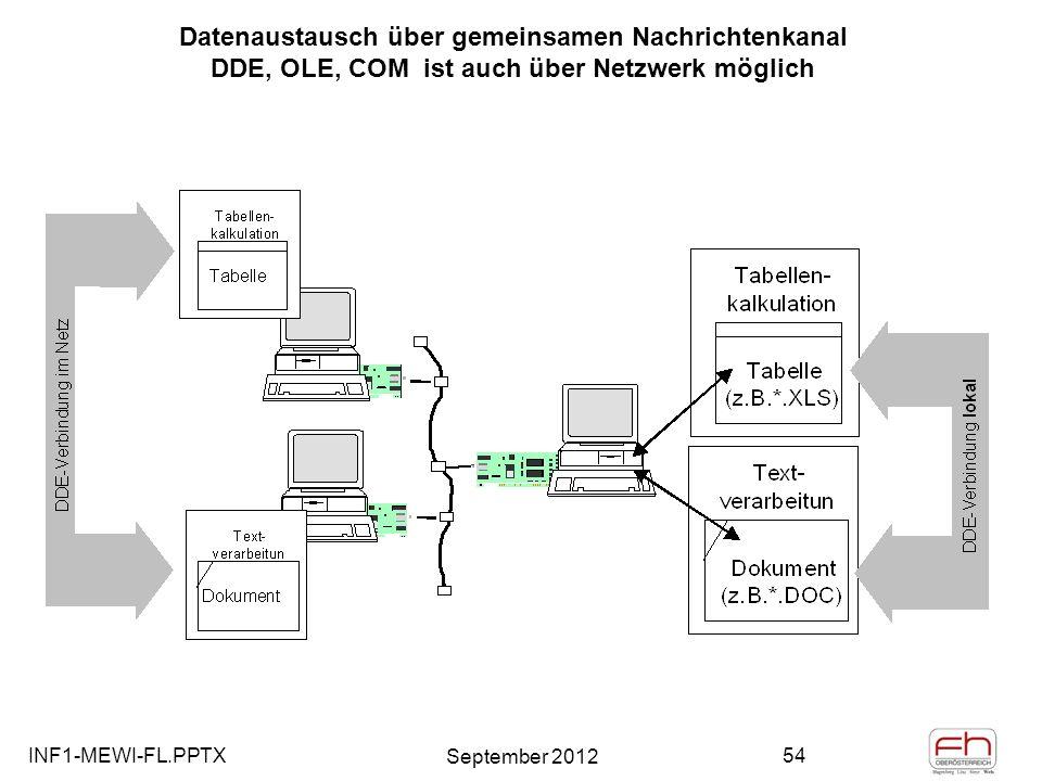 Datenaustausch über gemeinsamen Nachrichtenkanal DDE, OLE, COM ist auch über Netzwerk möglich