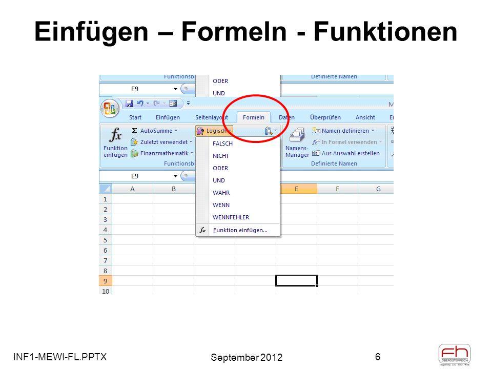 Einfügen – Formeln - Funktionen