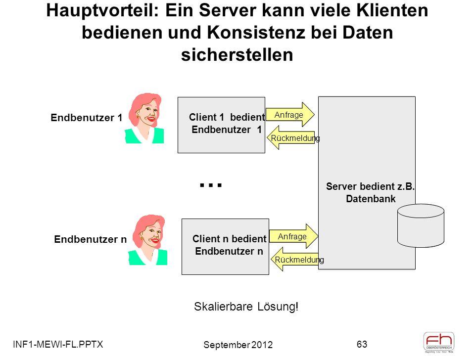 Hauptvorteil: Ein Server kann viele Klienten bedienen und Konsistenz bei Daten sicherstellen