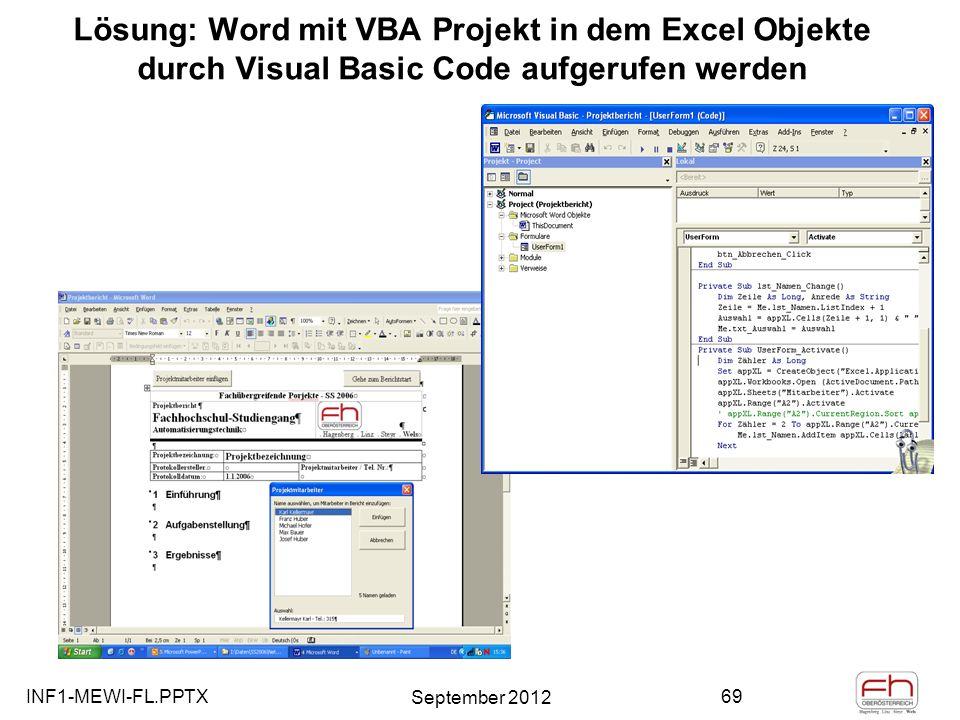 Lösung: Word mit VBA Projekt in dem Excel Objekte durch Visual Basic Code aufgerufen werden