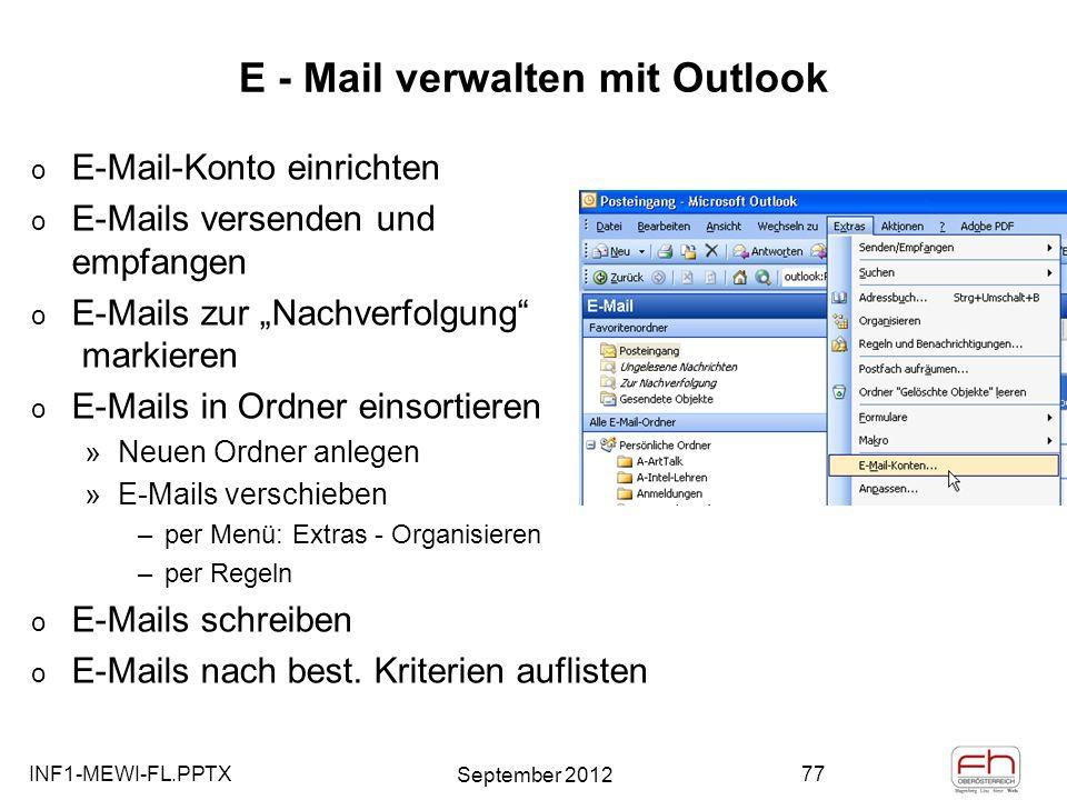 E - Mail verwalten mit Outlook