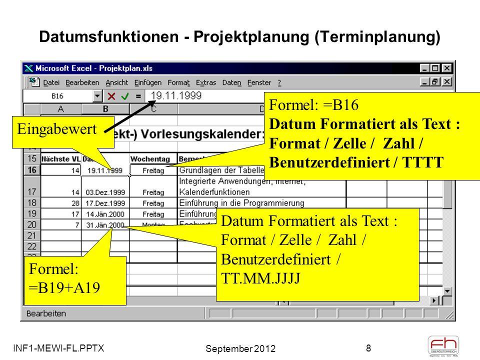 Datumsfunktionen - Projektplanung (Terminplanung)