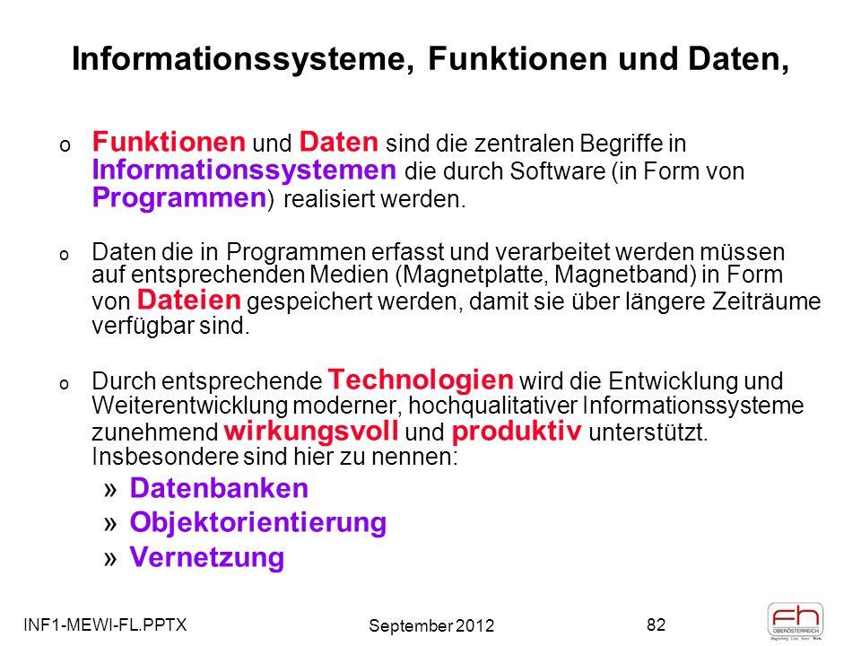 Informationssysteme, Funktionen und Daten,