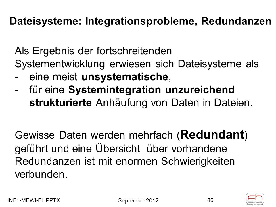 Dateisysteme: Integrationsprobleme, Redundanzen