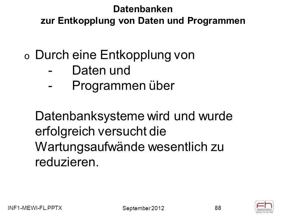 Datenbanken zur Entkopplung von Daten und Programmen