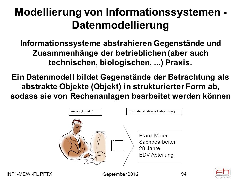 Modellierung von Informationssystemen - Datenmodellierung
