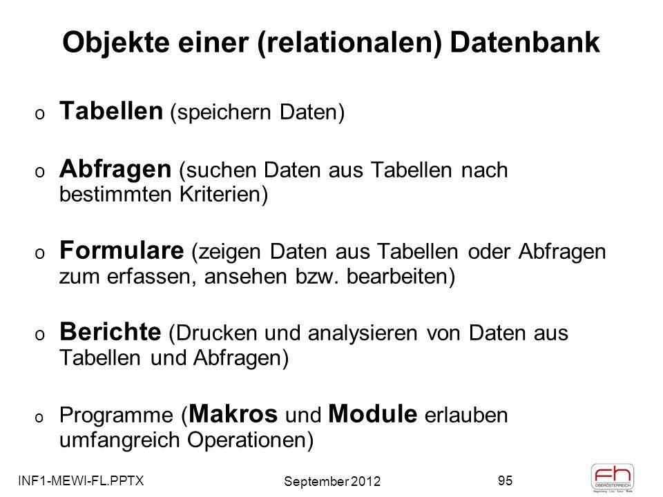 Objekte einer (relationalen) Datenbank