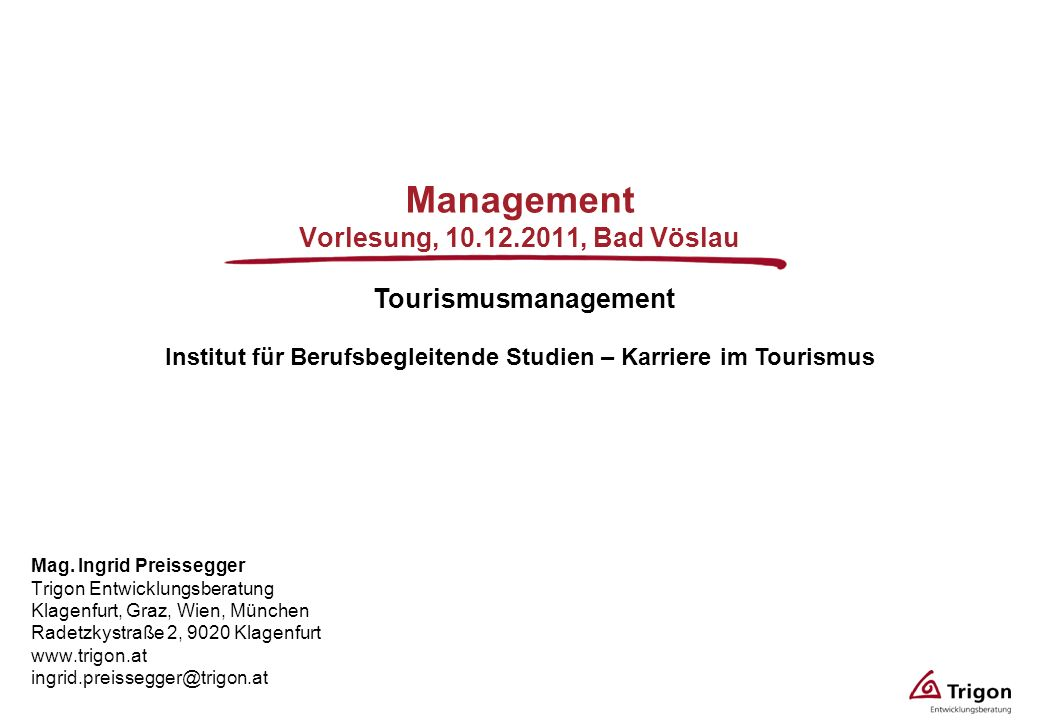 Management Vorlesung, , Bad Vöslau