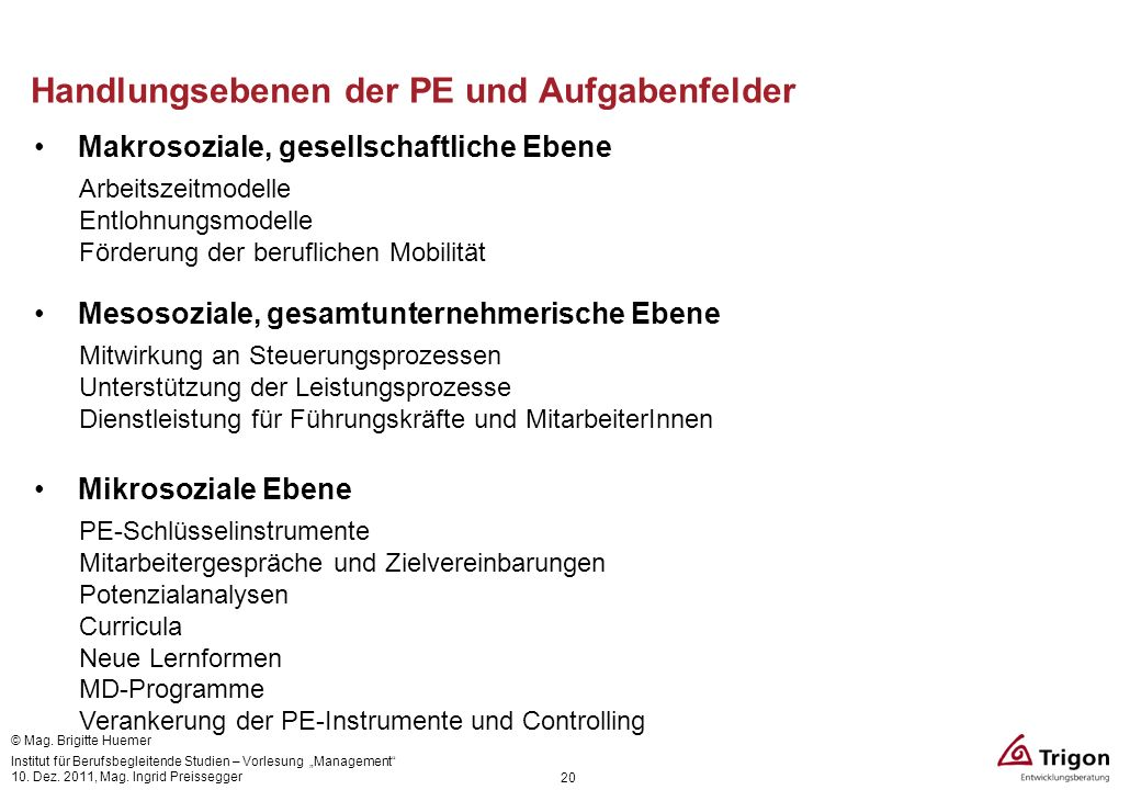 Handlungsebenen der PE und Aufgabenfelder