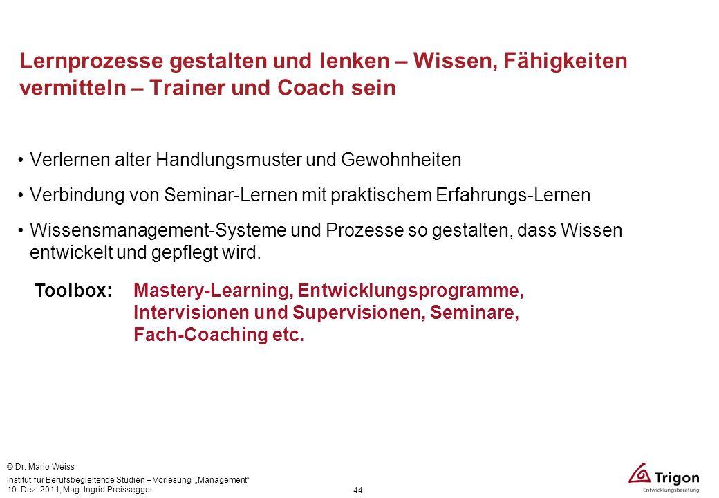 Lernprozesse gestalten und lenken – Wissen, Fähigkeiten vermitteln – Trainer und Coach sein