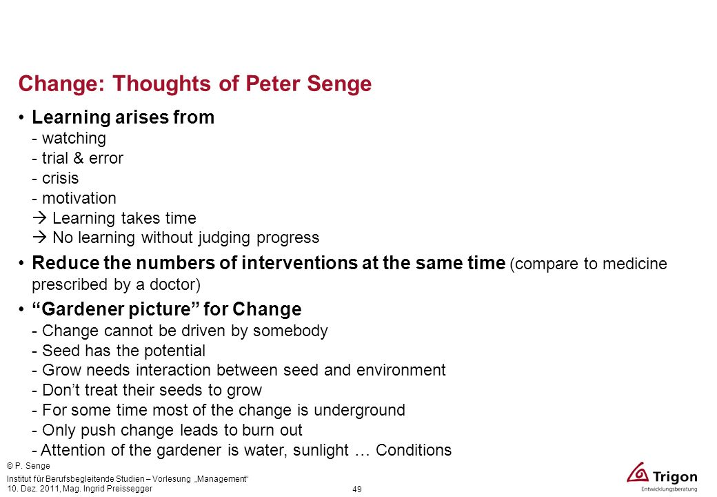 Change: Thoughts of Peter Senge