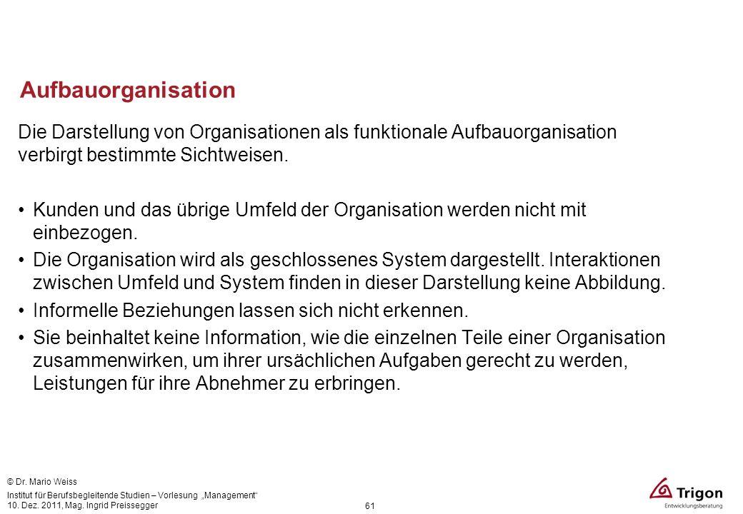 Aufbauorganisation Die Darstellung von Organisationen als funktionale Aufbauorganisation verbirgt bestimmte Sichtweisen.