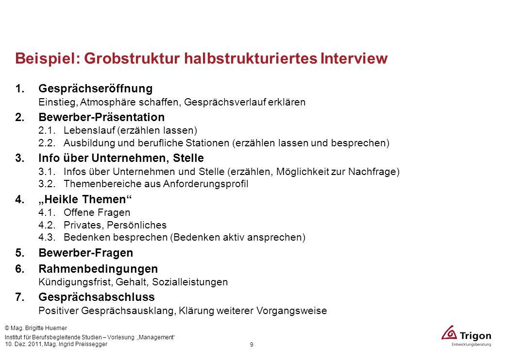 Beispiel: Grobstruktur halbstrukturiertes Interview