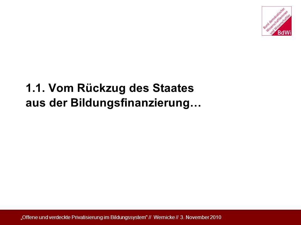1.1. Vom Rückzug des Staates aus der Bildungsfinanzierung…